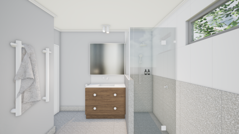 Read more about the article 3D RENDER | TARRAGINDI MID-CENTURY MODERN BATHROOM
