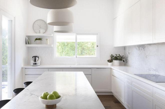White design, modern kitchen, white kitchen, stark white