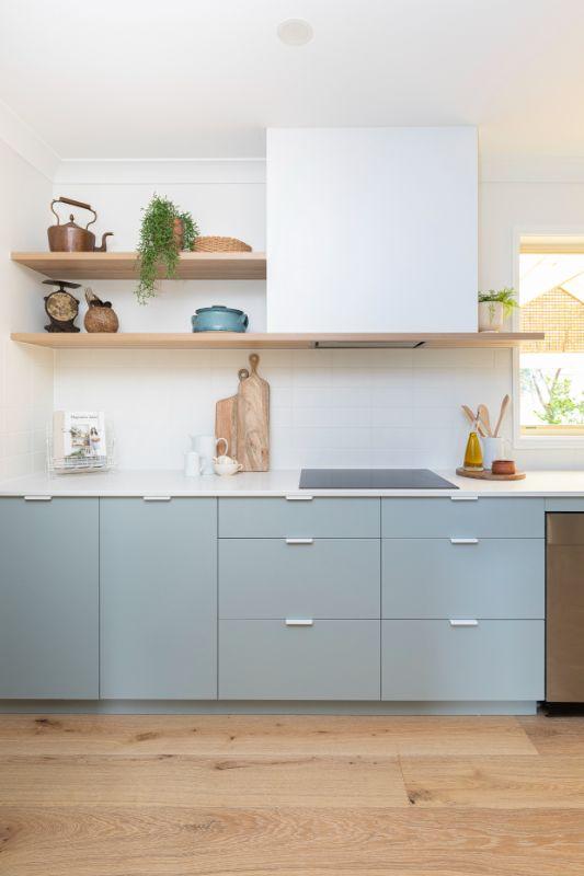 midcentury scandi blue grey cabinets white hardware white handles open shelving kitchen bespoke
