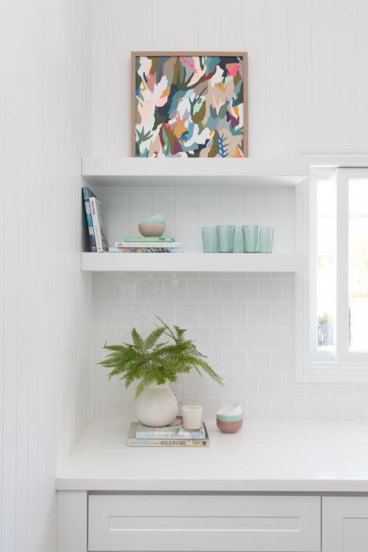 Bella Vie Interiors White Kitchen open shelving hamptons kitchen queenslander