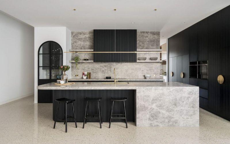 birghton home marble timber battens gold handles open shelving