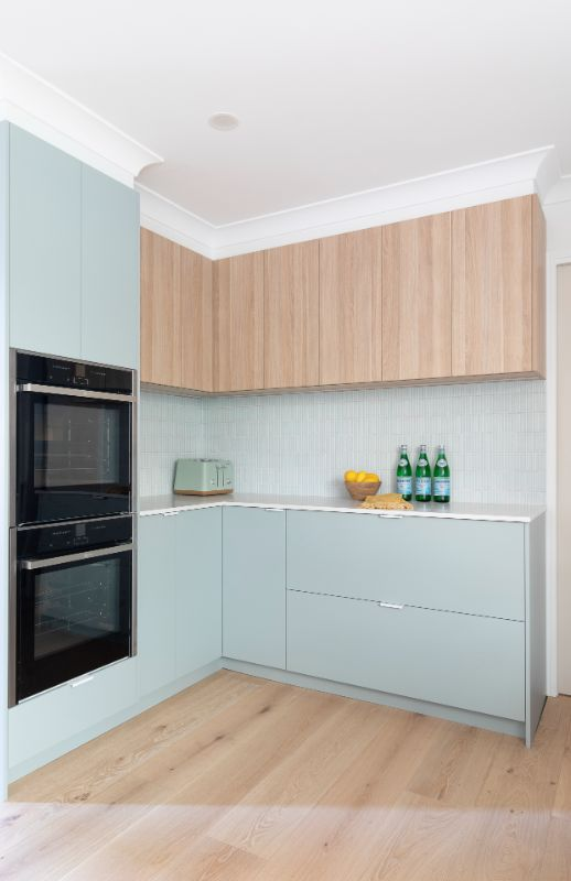duck egg cabinetry timber polytec nordic kitchen bella vie kitchen double oven modern kitchen