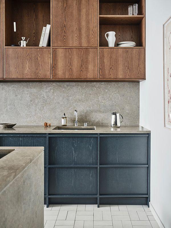 painted oak cabintery nordic stone kitchen modern kitchen