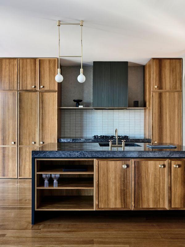 timber kitchen feature range hood round handles modern melbourne luke fry architectural kitchen