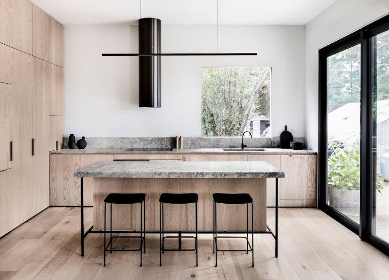 timber kitchen minimal modern bar stools danish style architectural kitchen studio esteta